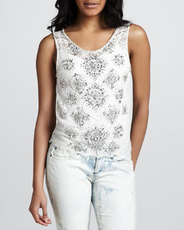 Haute Hippie Art Deco Lace Tank Top