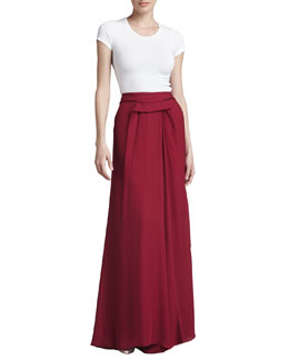 J. Mendel Pleated Georgette High-Low Skirt