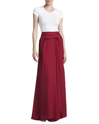 Pleated Georgette High-Low Skirt