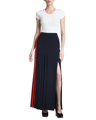 Colorblock Pleated Crepe Skirt, Poppy/Navy
