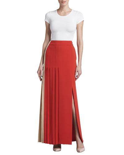 J. Mendel Colorblock Pleated Crepe Skirt, Sand/Poppy