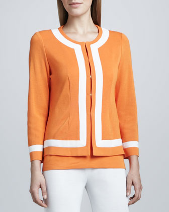 Natasha Colorblock-Trim Boxy Jacket, Women's