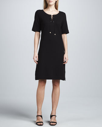 Pique Lace-Up Dress