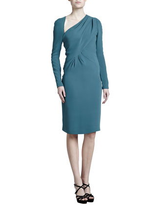 Asymmetric Crepe Dress, Dark Teal