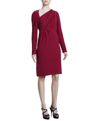 Asymmetric Crepe Dress, Fuchsia