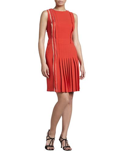 J. Mendel Sleeveless Pleated Crepe Dress