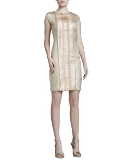 J. Mendel Metallic-Stripe Satin Dress