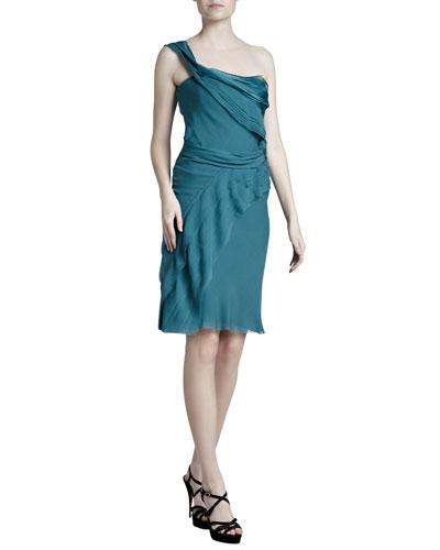 J. Mendel Draped One-Shoulder Dress, Dark Teal
