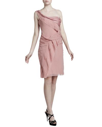 J. Mendel Draped One-Shoulder Dress, Muted Pink