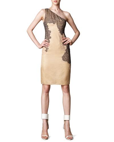 J. Mendel Lace-Detail One-Shoulder Dress