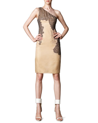 Lace-Detail One-Shoulder Dress