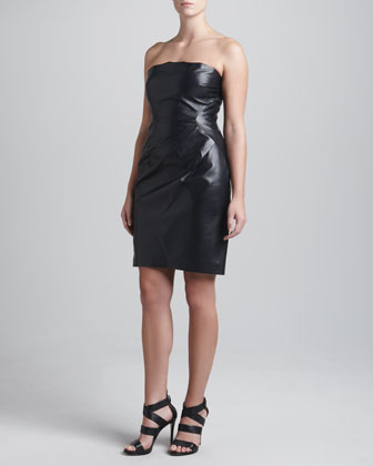 Leather Strapless Asymmetric Dress