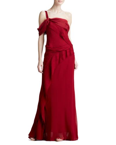 J. Mendel One-Shoulder Mousseline Gown