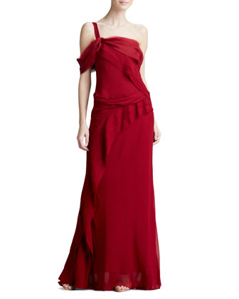 One-Shoulder Mousseline Gown