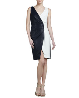J. Mendel Leather Colorblock Dress