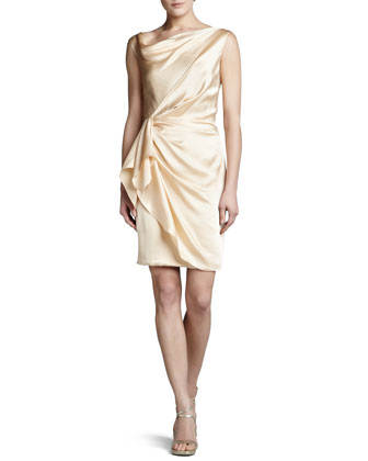 Hammered Silk Wrap-Skirt Dress, Vintage Champagne
