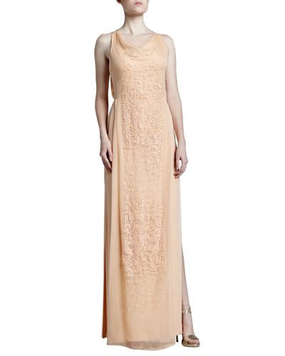 J. Mendel Embroidered Cowl-Neck Georgette Gown, Rosebud
