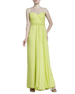 J. Mendel Mousseline Strapless Gown, Light Citron