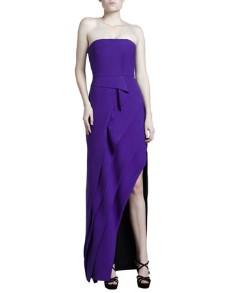 Strapless Tiered Crepe Gown
