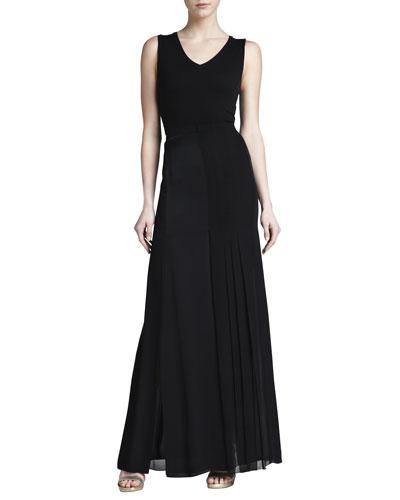 J. Mendel Pleat-Panel Georgette Skirt, Black