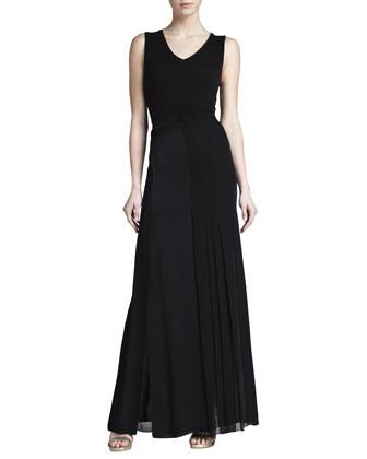 Pleat-Panel Georgette Skirt, Black
