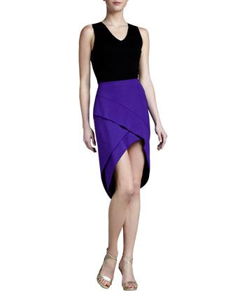 High-Low Crepe Skirt