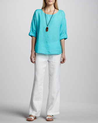Rolled-Sleeve Linen Top & Heavy Linen Trousers, Petite
