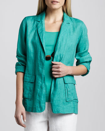 Handkerchief Linen Notch-Collar Jacket