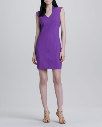 Seamed Split-Neck Dress