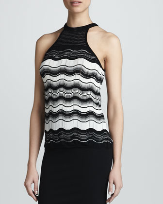 Greek Key Sleeveless Wavy-Knit Top