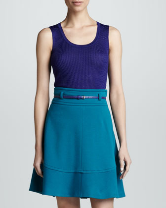 Belted Wool A-line Skirt