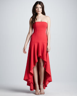 BCBGMAXAZRIA Strapless High-Low Flounced-Hem Gown