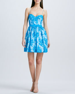 Aidan Mattox Spaghetti-Strap Lace Cocktail Dress