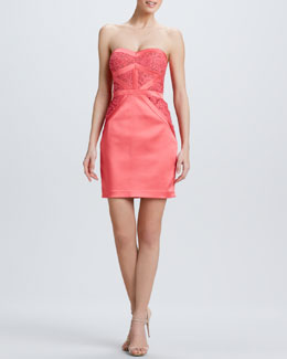 Aidan Mattox Strapless Pieced Cocktail Dress