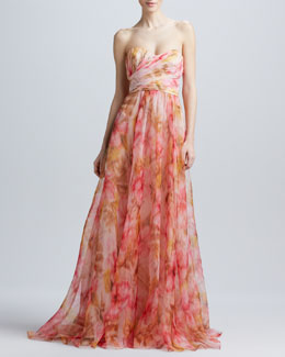 Badgley Mischka Strapless Floral-Print Gown