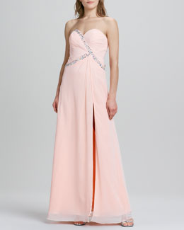 Faviana Strapless Beaded-Trim Open Back Gown