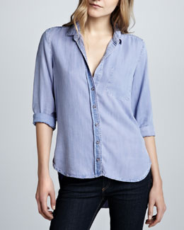 Bella Dahl Soft Chambray Button-Down Top, Lilac