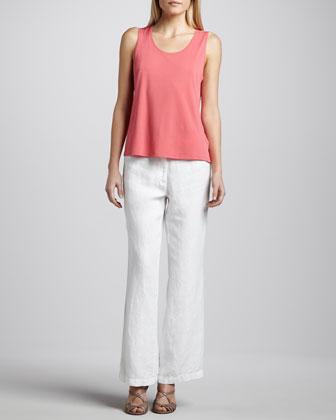Silk-Linen Angled Cardigan, Silk Jersey Tank & Heavy Linen Trousers, Petite