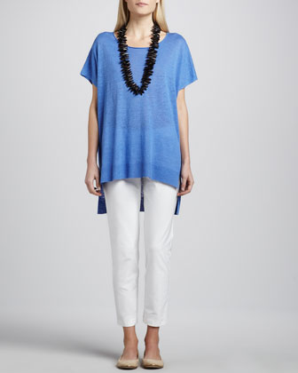 High-Low Linen Tunic & Washable Slim Ankle Pants, Petite
