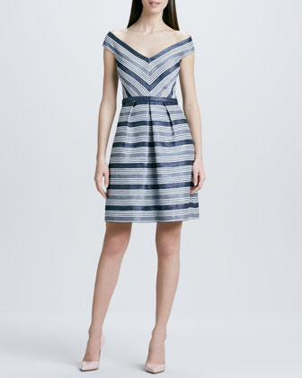 Striped Off-the-Shoulder Cocktail Dress