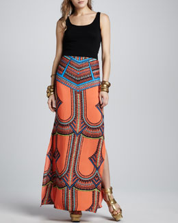 Alexis Madge Tribal-Print Maxi Skirt