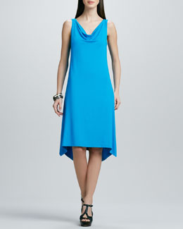 Eileen Fisher Cowl-Neck Washable Jersey Dress, Women's