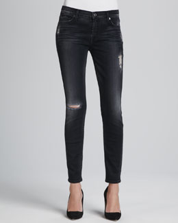 7 For All Mankind Skinny Blue Black Destroyed Jeans