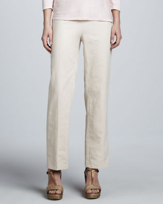 Linen Side-Zip Ankle Pants