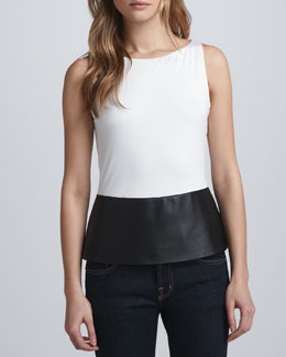 Bailey 44 Faux-Leather Peplum Top
