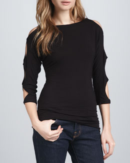 Bailey 44 Cutout-Sleeves Top, Black