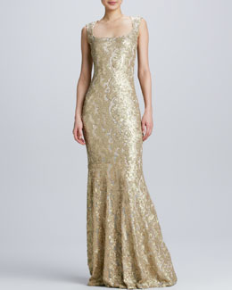 David Meister Sleeveless Gown with Lace Overlay