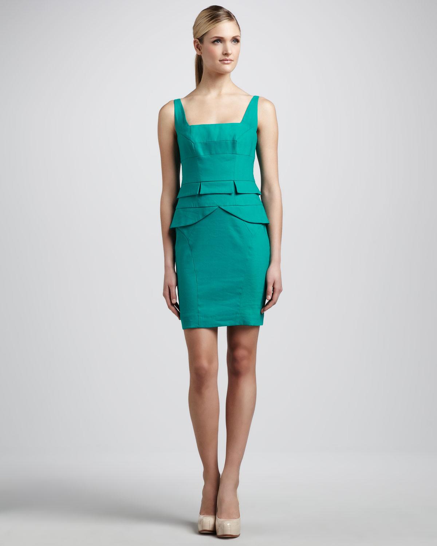 Womens Square Neck Peplum Dress   Nicole Miller   Aquamarine (10)