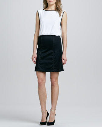 A-Line Leather-Trim Dress