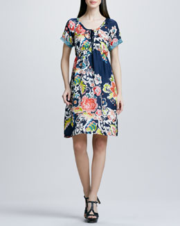 Johnny Was Collection Floral-Print Tie-Neck Silk Dress